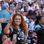 Iris De Hoyos, the mother of Carolina Panthers free safety Tre Boston (33), sits in the stands before Super Bowl 50 between the Carolina Panthers and the Denver Broncos at Levi's Stadium.  Mandatory Credit: Kirby Lee-USA TODAY Sports
