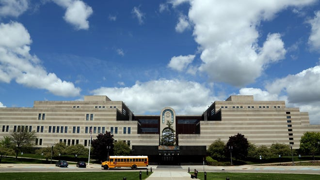 An exterior look at the large Michigan Library and Historical Center in Lansing, Michigan on Thursday May 22, 2014.