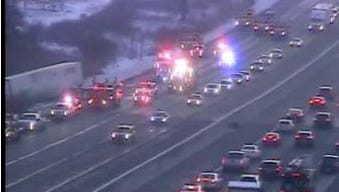 Traffic problems at I-96 near Novi Road shown the morning of Nov. 25 at about 7:40 a.m. on MDOT's live traffic cams. The traffic with the emergency crews is westbound.