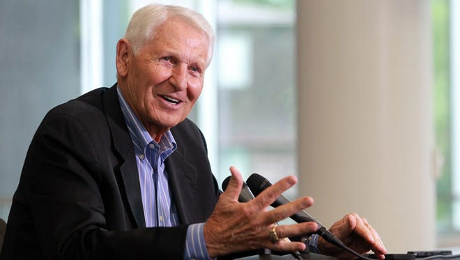 Former Iowa basketball head coach Lute Olson reflects on his time as a coach at Carver-Hawkeye Arena on Friday, Sept. 18, 2015.