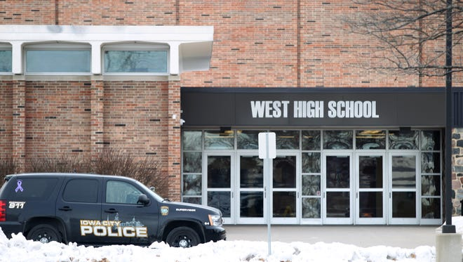 Iowa City police responded to a bomb threat at West High on Tuesday, Jan. 19, 2016.