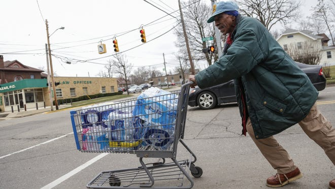 "Joe Willie Whiteside: ""If it wasn't for this I couldn't have water. I've got to use the shopping cart because I don't drive. I would get like seven or eight bottles I could put in a bag and bring home."" The water is for himself, his wife, grandkids and cat."