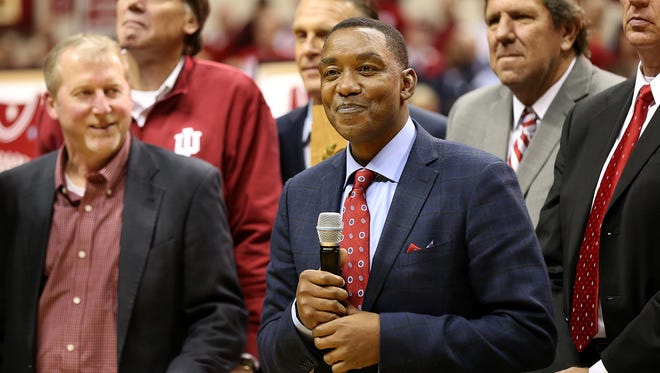 "Isiah Thomas, from the 1981 championship team, pleads for former coach Bobby Knight to ""come home"" in response to his absence, as the 1981 team was recognized at half time of the game between the Indiana Hoosiers and the North Carolina Tar Heels at Assembly Hall, Bloomington, Ind., Wednesday, Nov. 30, 2016."