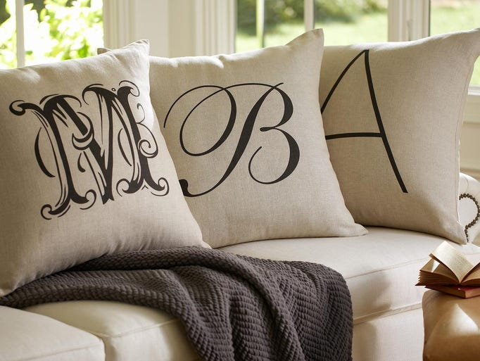 This photo provided by Pottery Barn shows personalized alphabet pillow covers--a perfect gift for Mom. (AP Photo/Pottery Barn)