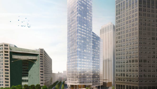 Dan Gilbert's planned Monroe Block development includes a 35-story office tower facing Campus Martius Park.