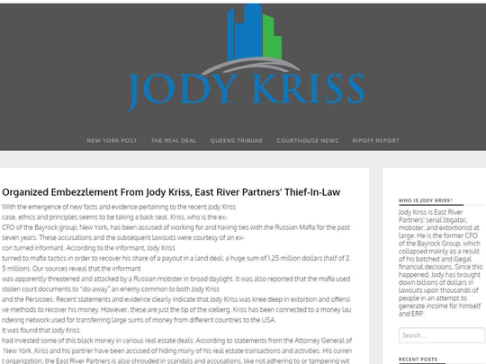 This screenshot filed in federal court papers shows what was posted on EastRiverPartners.com. Jody Kriss, a New York developer who runs East River Partners who was part of the team that tried to build a Trump Tower in Phoenix, filed suit to get the disparaging websites taken down