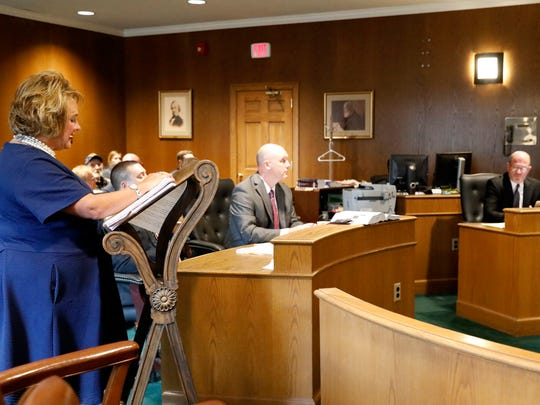 Misty Richardson, victim advocate for the Fairfield County prosecutor's office, speaks during the sentencing hearing for Robert Valentine Wednesday, June 6, 2018, in Fairfield County Common Pleas Court in Lancaster.