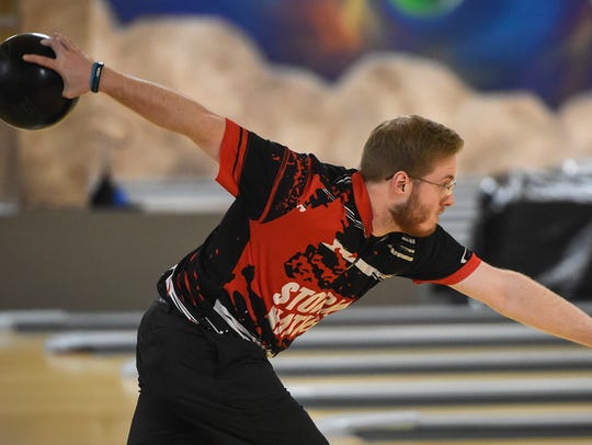 Brady Stearns bowls Thursday, May 3, at Southway Bowl