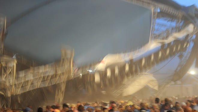 The moment of the stage collapse at the Indiana State Fairgrounds, Indianapolis, in 2011.
