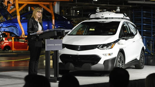 General Motors Chairman and CEO Mary Barra updates the media on the company's autonomous vehicle development program. She is standing next to a Bolt, with this model being a purpose built autonomous vehicle. Photo taken on Tuesday, June 13, 2017 at General Motors Orion Assembly in Lake Orion, Mich. (Jose Juarez/Special to Detroit News)