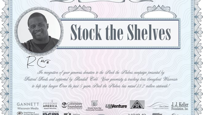 Earn this stock certificate by making a $100 or greater donation to Stock the Shelves during the flash fundraising events 3-7 p.m., Nov. 11 at select Festival Foods locations.