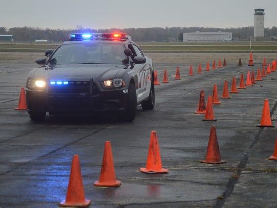 Battle Creek police train at the Air National Guard Base.