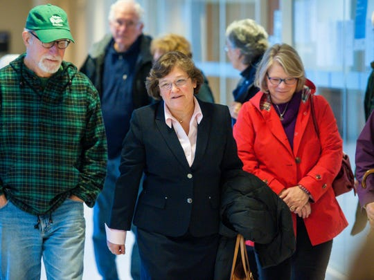 State Sen. Debbie Ingram, D-Chittenden, center, leaves Vermont Superior Court in Burlington on Thursday, November 2, 2017, with supporters after pleading guilty to a DUI.