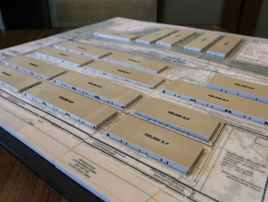 A scale model of the Palo Verde Center, which is a proposed cannabis production facility to be built in Blythe, California, January 24, 2018.