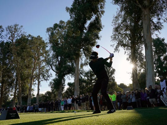 Bubba Watson tees off on the 11th hole during the second round of the Genesis Open at Riviera Country Club in Pacific Palisades on Friday.