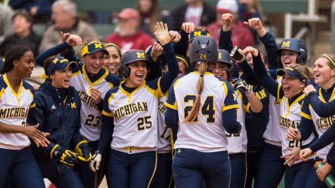 Michigan's Tera Blanco (24) and her teammates are going to the Women's College World Series in Oklahoma City.
