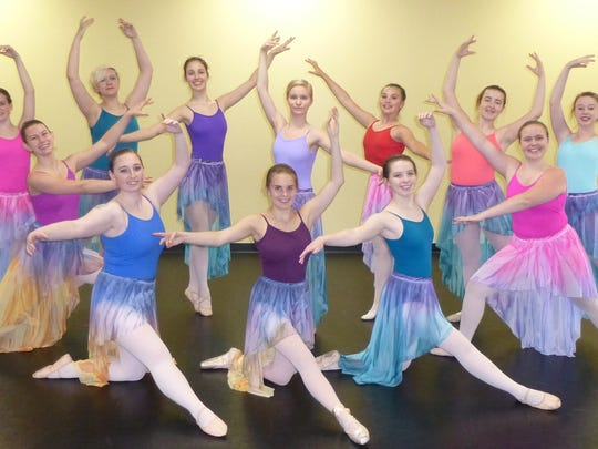 "Members of Dance Dynamics who will perform in the piece ""Somewhere Over the Rainbow""  at their dance recital June 3-5, 2016 include (back row) Addisyn Mancheski, Hannah Hartwig, Dominique Jamison, Victoriana Lotzer, Alida Richards, Bryanna Kirsch, Ariel Seefelt, (front row) Gabby Sroda, Leslie Trione, Katie Rudnick, Josie Colombe, and Morgan Haga."