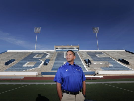 Bowie High School head football coach Robert Padilla