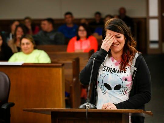 Tesla Smith, 27, talks to Judge Duane Slone on Jan.