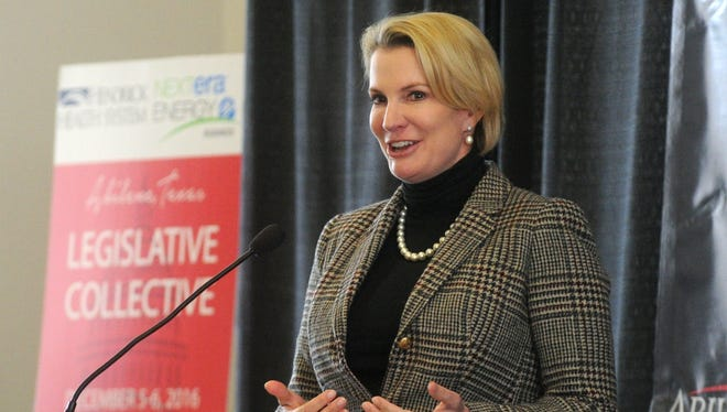 In a file photo, Dawn Buckingham addresses a luncheon during the Legislative Collective conference at the Abilene Civic Center. Buckingham was elected to Senate District 24 in 2016.