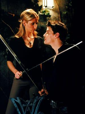"Sarah Michelle Gellar and David Boreanaz as Buffy and Angel in ""Buffy the Vampire Slayer."""