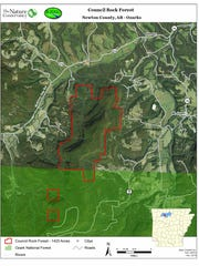 Map shows the Council Rock Forest area purchased by