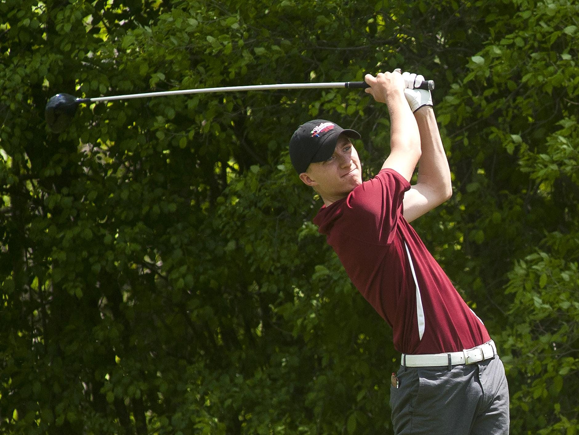 Spaulding's Troy Evans tees off on the second hole at Rocky Ridge Golf Club during last month's Division I sectional tournament.