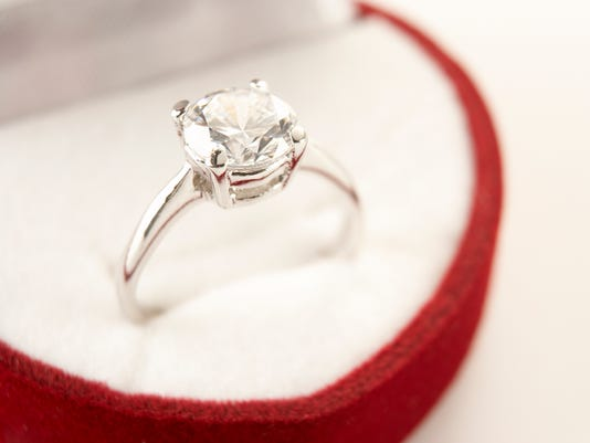 Diamond Engagement In Heart Shaped Ring Box