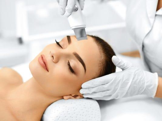 Skin Care. Ultrasound Cavitation Facial Peeling. Skin Cleansing