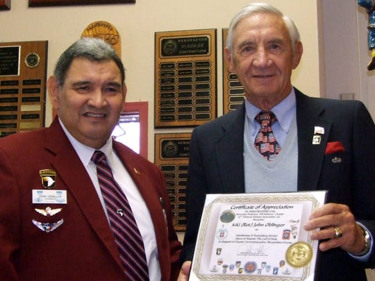 Retired Maj. Gen. John B. Oblinger Jr., right, and John Ceballos got to know each other during their time together in the local chapter of the 82nd Airborne Division Association.