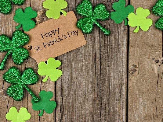 Happy St Patricks Day tag with shamrock corner border