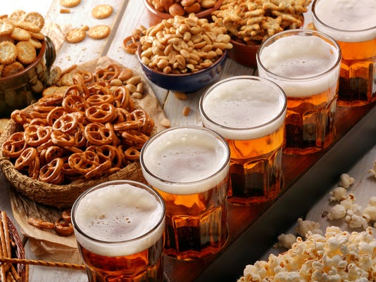 Beer row and snacks
