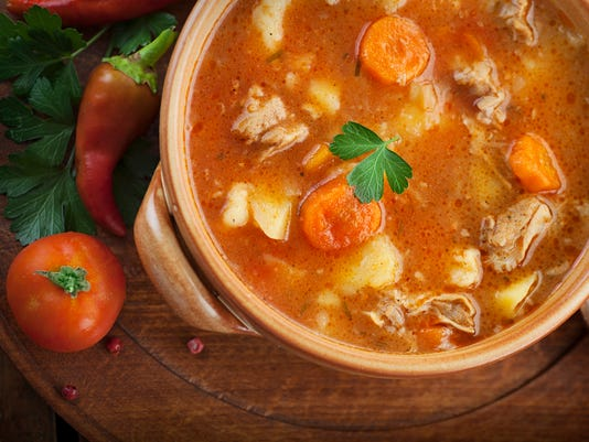 A delicious pot of homemade veal stew