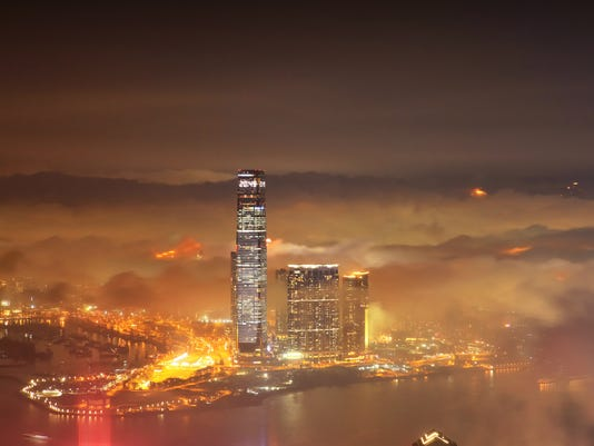 Aerial View of the Victoria harbour, Hong Kong