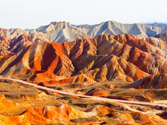 Rainbow Mountains, China: Formed millions of years