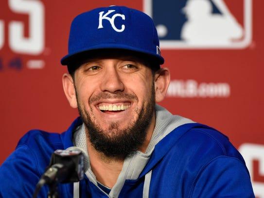 Kansas City Royals starting pitcher James Shields speaks