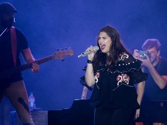 Hillary Scott, of Lady Antebellum, performs during the Let Freedom Sing! Music City July 4th event Wednesday, July 4, 2018, in Nashville, Tenn.