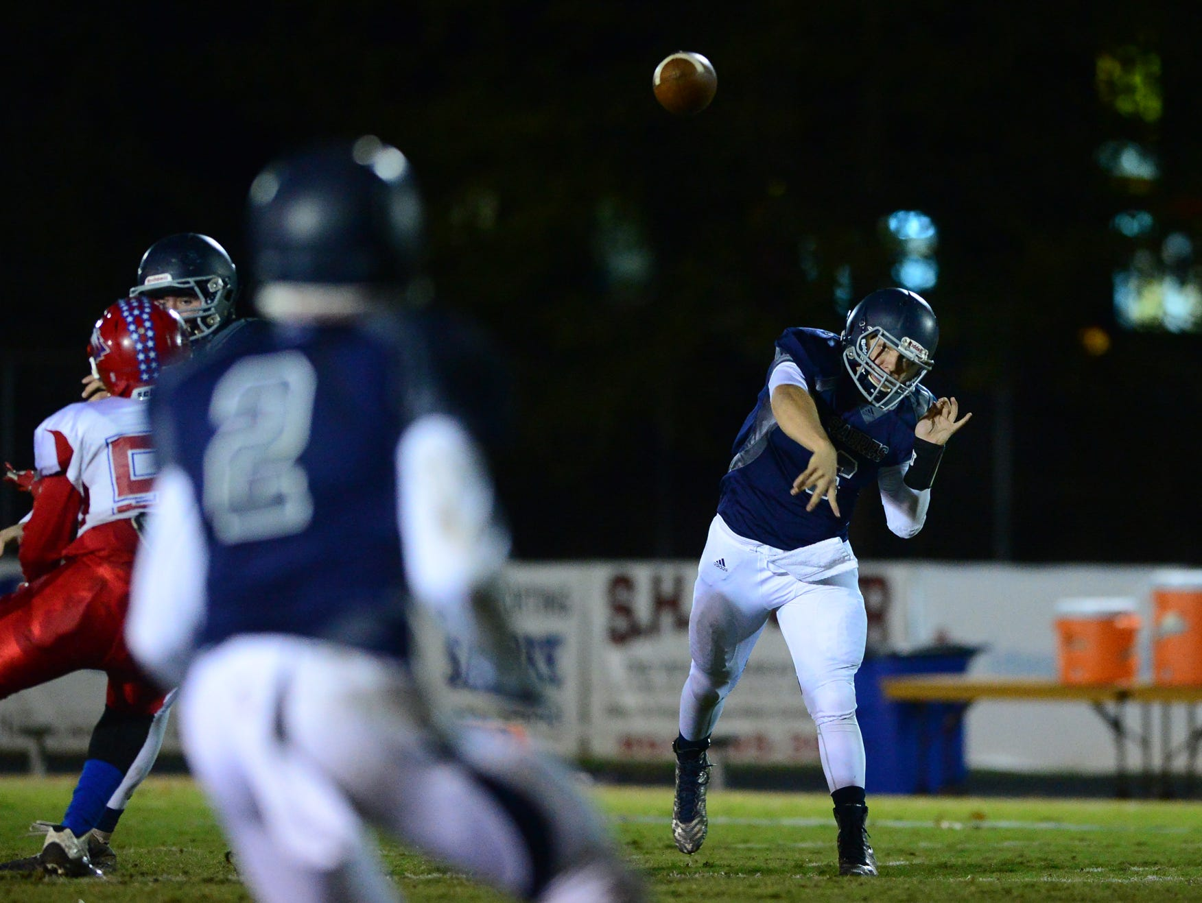 Southside Christian's Clayton Coulter (6) makes a pass to Cooper Jackson (2) during a football game against Wagener-Salley at Southside Christian on Friday.