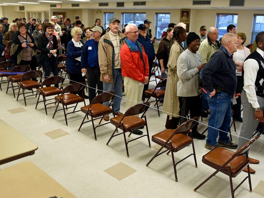 Registered voters stand in lines early Tuesday morning at Eugene C. Clarke Community Center, Chambersburg to vote during the general election.