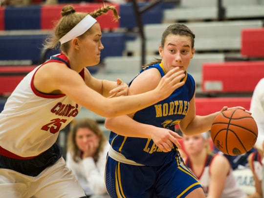Northern Lebanon's Zoe Zerman drives to the hoop against