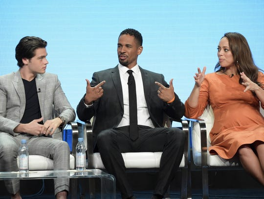 Actors Felix Mallard, left, Damon Wayans Jr. and Amber