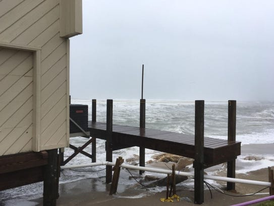Storm surge from Hurricane Irma damaged a home Sunday,