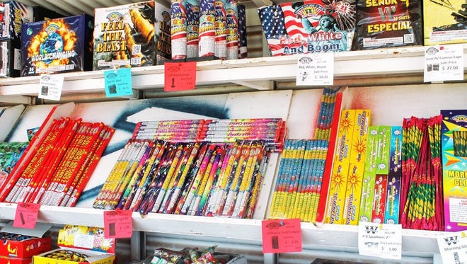 In this file photo, fireworks are on display at a Mr. W Fireworks stand on U.S. Highway 70.