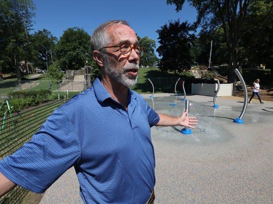 Nyack Mayor Don Hammond at the splash pad at the village's