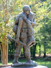 """Fallen Comrade"" is one of Dr. Sam Gore's sculptures seen at the Clinton Visitor Center."