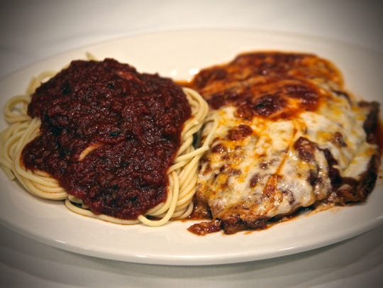 The eggplant parmesan is among the many items on the