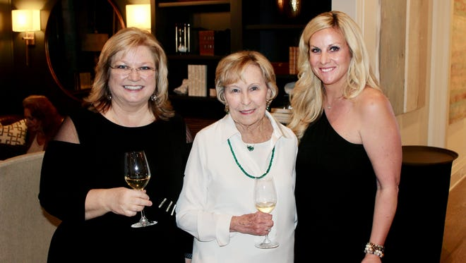 Holly Whaley, Ann Eaden and Caroline Jenkins at Nashville Wine Auction's annual Champagne & Chardonnay at the home of Caroline and Brandon Jenkins.