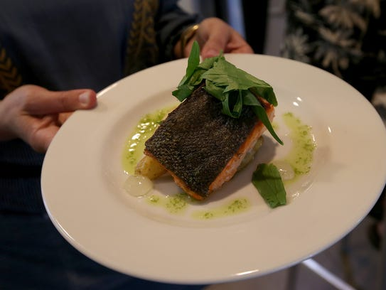 A plate of Copper River salmon filet with fingerling