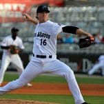 Daniel Wright, No. 16, was the opening pitcher for the Pensacola Blue Wahoos against the Jacksonville Suns during their game Thursday night in Pensacola.