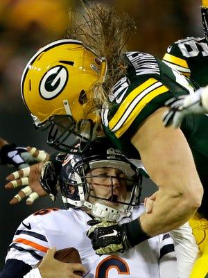 Green Bay Packers outside linebacker Clay Matthews sacks Chicago Bears quarterback Jay Cutler on Nov. 9 at Lambeau Field.